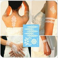 Wholesale henna stickers - 50PCS Flash Waterproof Tattoo Women White Temporary Tattoos Henna Lace Tattoos Flower Totem Wedding Bridal Temporary Tattoo Sticker