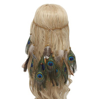 Wholesale Wholesale Accessories Make Headbands - Hand-made Indian Style Bohemian Elastic Headbands Peacock Feather Hair Accessories Hippie Headdress 2017 New Fashion Top Quality