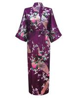 ingrosso yukata all'ingrosso-All'ingrosso-Viola Moda donna Peacock Kimono lungo accappatoio Camicia da notte abito Yukata Accappatoio Sleepwear con cintura S M L XL XXL XXXL