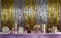 Wholesale Metallic Gathers - 3m*1m Metallic Foil Fringe Door rain Curtains Party Christmas Wedding Photo booth props marriage gathering backdrop decorations