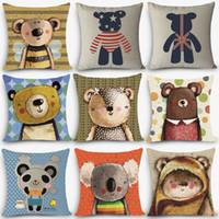 "Wholesale Cheap Cotton Throws - Wholesale- New Arrival cheap cushions bear Print Home Decorative Cushion Throw Pillow 18"" Vintage Cotton Linen Square Pillows MYJ-A6"