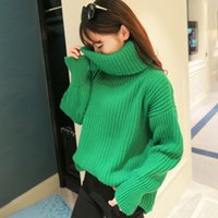 Wholesale Turtleneck Korea Women - Turtleneck Female Winter Loose Coarse Needle Winter Ladies Thickened In The Long Section of South Korea Students Pile Collar Sweater