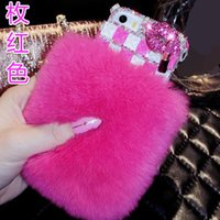 Arc De Lapin De Diamant Pas Cher-Pour Samsung Galaxy note 3 4 5 Luxury Cute Rabbit Furry Diamond Sexy Lips Bow Strass housse de téléphone