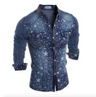 Wholesale Denim Shirt Men - Wholesale- 2017 New Fashion Denim Jeans Shirt Men Cotton Slim Fit Brand Casual Shirts Long Sleeve Mens Cowboy Shirt Camisa Jeans Masculina