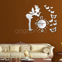 Wholesale Mirror Clock Fairy - Wholesale- 2016 Hot Modern Fairy Butterfly Angel Girl Mirror Acrylic Quartz DIY 3D Wall Clock Home Bedroom Livng Room Decor