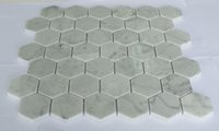 """Wholesale Flooring Installations - Hexagon Carrara Marble Mosaic with 48x48mm(2""""x2"""") Mounted on Mesh Easy Installation for Wall and Flooring Use Big Quantity Supply 5pcs lot"""