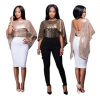 Wholesale Wholesale Sleeveless Long Blouse - DHL free shipping Hot sale elegant sexy sequins shawl tops blouses shirts women rose gold black two colors sequins shawl nightclubs wear new