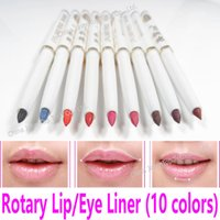 Großhandel-Rotary Lip Liner Pen Verdrehen Lipliner Stick Make-up Eye Liner Wasserdicht Red Lip Pencil White Schwarz Blau Lila Kosmetik-Tools