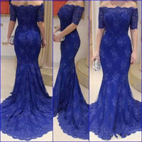 Wholesale Drak Blue Prom Dresses - Real Image Lace Drak Blue 2017 Mermaid Sheer Cheap Evening Dresses Formal Dress Gowns Train Sweep Applique Long Prom Party Dresses Custom
