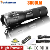 Wholesale Dive Torch T6 Cree - E17 XM-L T6 3800LM Tactical cree led Torch Zoomable cree LED Flashlight Torch light for AAA or 1xRechargeable 18650 battery