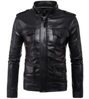 ingrosso uomini di giacca moto nero-Più tasche PU Leather Jacket Black SOLID Colour Zipper Hooded Cap rimovibile manica lunga Slim Fit per uomo moto Jakcets nave libera