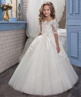 ingrosso abiti arabi per matrimoni-2019 New Lace Arabian Flower Girl Abiti per matrimoni Tulle Baby Girl Comunione Abiti ragazza pageant Gown