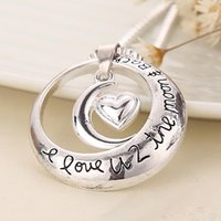 Wholesale Heart Charm Pendant Necklace Couples - 2017 father's day I Love U 2 The Moon and Back Circle with Heart Pendant Necklace Couples Necklace