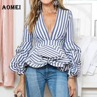 Wholesale Long Sleeve Peplum Top Xl - Puff Sleeve Blue White Stripe Blouse Shirts Ruffles Trim Women Sexy V Neck Summer Fashion New Tops Clothing Blusas Plus Size 4XL