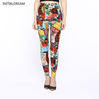Wholesale Wholesale Female Jeggings - Wholesale- 2017 new letters printed Slim fashion female jeggings high elastic cotton leggings sexy and slim thin style casual woman pants