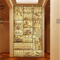 Wholesale Wallpaper Tv Setting - Abstract personality character painting large murals TV setting wall paper porch corridor non-woven wallpaper in ancient Egypt