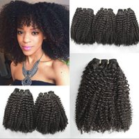 Wholesale afro weaves for black hair online - Malasian Kinky curly hair weaves double weft full end virgin human hair non processed human afro hair for black woman G EASY