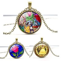 Wholesale Wholesale Beauty Beast - Beauty And The Beast Pendant Necklace Women Vintage Silver Bronze Time Gem Glass Flowers Rose Chain Necklace Glass Cabochon Jewelry