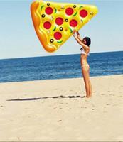 tubo divertido al por mayor-Moda Nueva Swim Fun Inflable Asiento flotante Pizza Flotador Slice Inflable Tumbona de playa Diversión Flotador Piscina Tubos de aire Juguete de agua