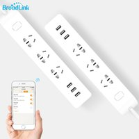 Wholesale Power Outlet Remote Control - Wholesale- BroadLink MP2 Smart Wifi Power Strip WiFi Socket Remote Control 3 Outlet with 3 USB Fast Charging 2.1A for iOS Android 2016