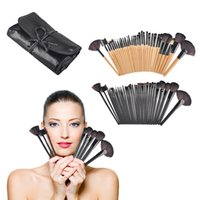 Wholesale Cosmetic Brushes Roll Up Bag - 32Pcs Professional Wood Cosmetic Facial Make Up Brush Kit Makeup Brushes Set Brush With Black Roll Up Case Bag