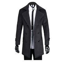 Wholesale Wool Coat Style For Man - Wholesale- Hot selling Plus Size England Style Men Coats Thick Gentleman Coats Warm Winter Woolen Men Coats for wholesale and free shipping