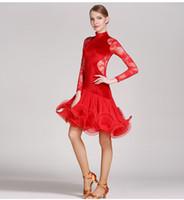 franja de tango venda por atacado-Laço vermelho vestido de dança latina franja mulheres vestido latin roupas de dança Dancewear latina salsa vestidos para dançar samba tango