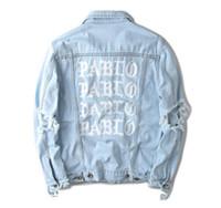 Wholesale Short Denim Broken - Hot item ! KANYE west Jacket album PABLO denim jacket washing do old damaging yeezus Big broken suprme & apes men Jackets free shipping
