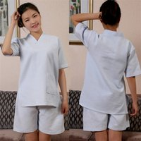 Wholesale Short Pyjamas Women - Women Hotel Robes Steaming Clothing Waffle Robe Unisex 100% Cotton Short Sleeves V Neck Design Sleeping Pyjama 2 Pieces Set Multi Colors