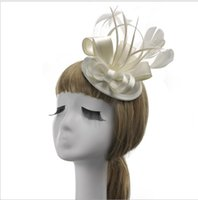 Wholesale Vintage Flax - British Vintage Lady's Flax-Feather Top Hat Dinner Party Party Wedding Party Bridal Hat Headdress