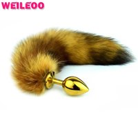 Wholesale Cat Tails Plug - Stainless steel plug brown cat tail anal plug tail fox tail butt plug anal toys gay sex toys for couples anal toy