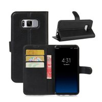 Wholesale Colorful Pu Leather Wallet - For Samsung S8 Plus Lichee Wallet Case For Iphone 7 6 6s Plus LG G6 With Kickstand Card Slot Phone Cover Colorful PU Leather Case OPPBAG