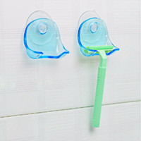 Wholesale Bathroom Towel Shelves - Super Suction Cup Razor Rack Razor Holder Suction Cup Shaver Storage Rack Wall Hook Hangers Towel Sucker bathroom accessories