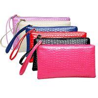 Wholesale Wallet Wristlet - Wholesale- Women's Coin Purse Clutch Wristlet PU Leather Handbags Wallet Purse Card Phone Holder Makeup Bag Clutch Small Handbag