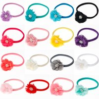 Wholesale Plastic Kids Hair Accessories - Fabric chiffon flower headbands girls flower headband matching nylon headband kids hair accessories 60pc lot
