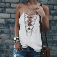Lace Piping Stickerei Print Sheer Spaghetti Strap Bandage Gürtel Schärpen Camis Chic Hollow Out Ärmellos Tank Mode Frauen Sommer Tops