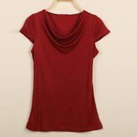 Wholesale Girls Silk Shirt - Fashion Silk Women T Shirt Solid Drop Neck Cap Sleeve Casual Women Clothes for Ladies Girls