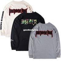 Wholesale Men Access - Justin Bieber Purpose Tour Pacsun T Shirts Mens Women All Access Staff Camo Printed Long Sleeve Tshirts Hip Hop Streetwear Tees