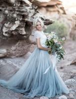 Wholesale short colored wedding dresses resale online - 2019 Bohemian Colored Wedding Dresses Short Sleeve Jewel Neck A Line Soft Tulle Cap Sleeve Boho Lace Light Blue Bridal Gowns