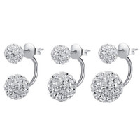 Wholesale Wholesale Gold Disco Ball - Fashion Jewelry Earrings Crystal Disco Shamballa Ball Style Stud Earrings Women C00132 FASH