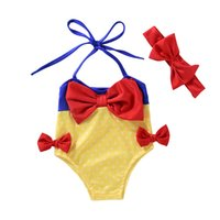Wholesale Cute One Piece Swimsuit Bow - baby swimwear Snow White Butterfly Girls Swimsuit Cute Bowknot One Piece Swimsuit +Bow Headband Girls Swimming Wear C643