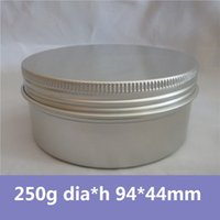 Wholesale Wholesale Candle Jars Free Shipping - Wholesale- Free Shipping 50pcs lot Cosmetics packaging 250g Aluminum Container Metal Cans Cream Jar Metal Caning Candle Holder aluminum can