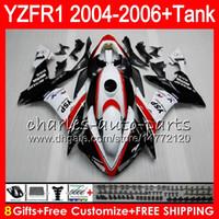 kit de carenagem yamaha r1 branco venda por atacado-8Gift 23Corpo Corpo Para YAMAHA YZF R 1 YZF 1000 YZFR1 04 05 06 vermelho branco 58HM22 YZF-R1000 YZF-R1 YZF1000 YZF R1 2004 2005 2006 Kit de Carenagem