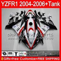 yamaha r1 gövde kitleri toptan satış-8Gift 23Renk YAMAHA YZF R 1 YZF 1000 YZFR1 04 05 06 kırmızı beyaz 58HM22 YZF-R1000 YZF-R1 YZF1000 YZF R1 2004 2005 2006 Fairing kit