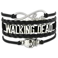(10 PCS / Lot) Infinity Love Walking Dead Skull Charms Wrap Pulseiras para Mulheres Men Jewelry Gifts Black Silver Leather Bracelets