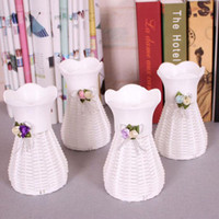 Wholesale Wedding Basket Floral - Artificial Plastic Rattan Flower Vase Roses Floral Storage Round Basket Home Garden Wedding Party Decoration Gift ZA3310