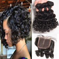 Wholesale human loose curl hair bundles for sale - Group buy Loose Deep Wave With Lace Closure Loose Wave Bundles With Closure Brazilian Top Closure Human Virgin Hair Pissy Curl Hair