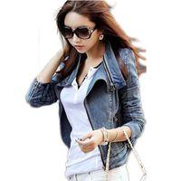 Wholesale Studded Jeans Short Woman - Wholesale- Free shipping New fashion Star jeans women Punk spike studded shrug shoulder Denim cropped VINTAGE jacket coat Zipper Denim Coat