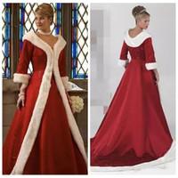 Wholesale Long Red Wedding Cloak - 2017 Long Sleeves Cloak Winter A-Line Wedding Dress Burgundy Warm Formal Dresses For Women Fur Appliques Beaded Jacket Bridal Gowns