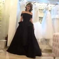 Wholesale tea length taffeta plus size - Arabic Saudi Custom Made 2017 Black Evening Dresses Princess Off the Shoulder Sheath Tea Length Prom Dresses with Overskirt Celebrity Gowns